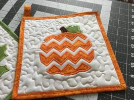 chevron pumpkin pot holder