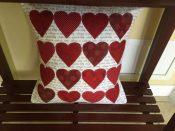 heart applique pillow