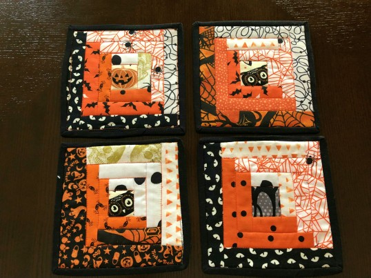 Halloween 2018 log cabin coasters