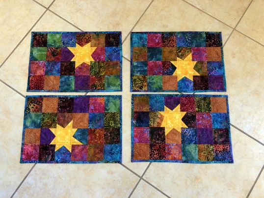 wonky star placemats finished