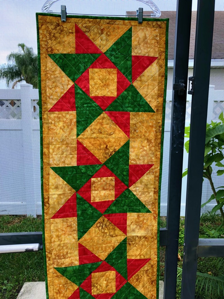 Christmas, table runner, quilted, star