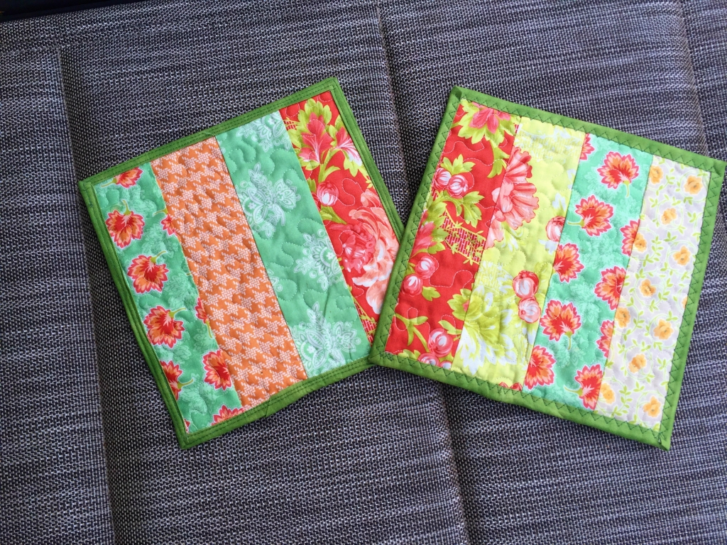 strip pieced potholders