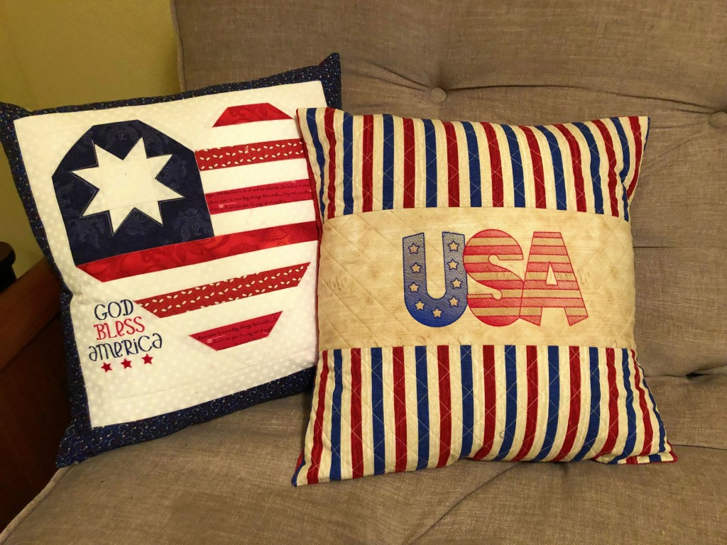 2019 Patriotic Quilted Pillows w Embroidery