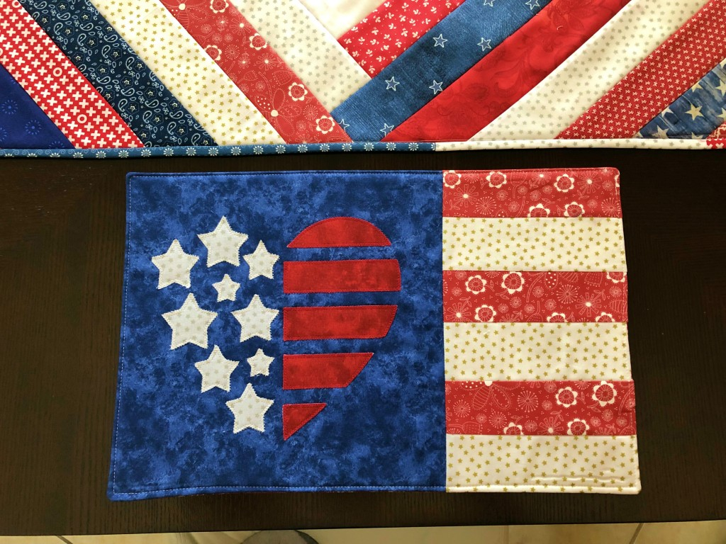 Patriotic Quilted Placemat w Embroidery