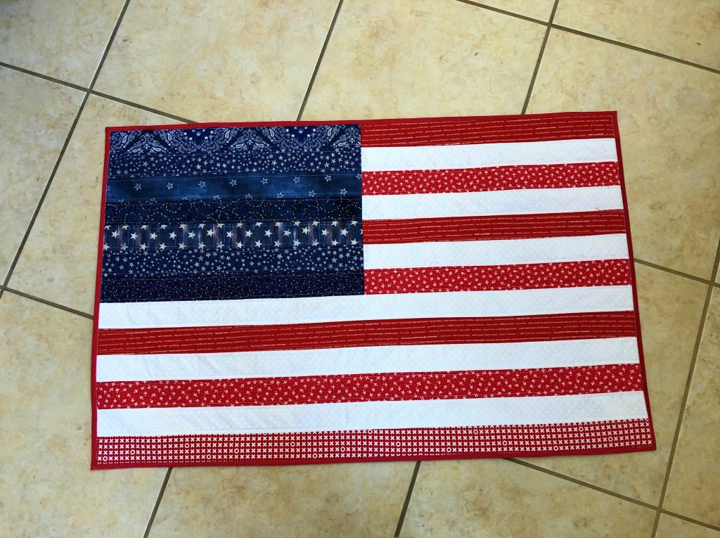RWB Strip Pieced Flag Wall Hanging or Table Topper