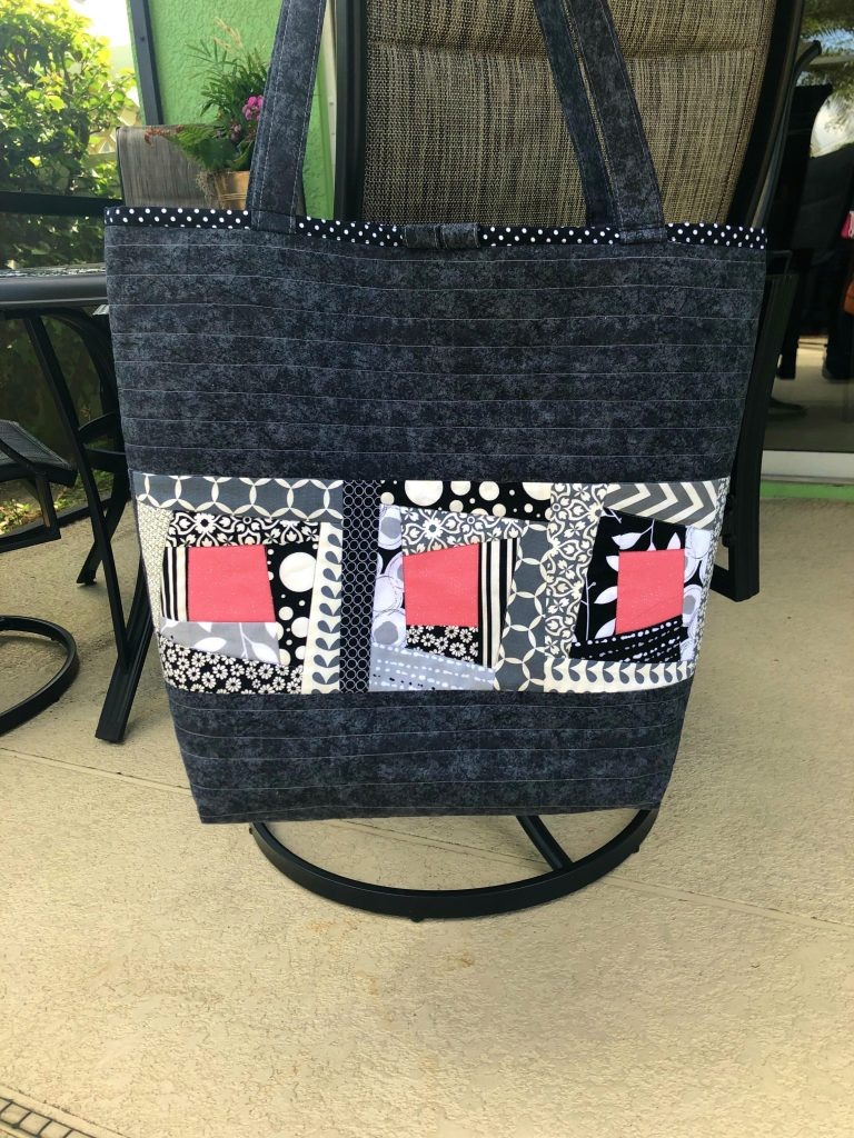 wonky log cabin tote bag