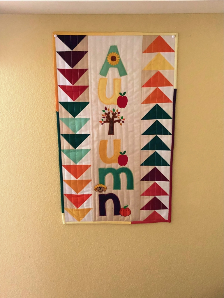 Flying geese mini quilt autumn
