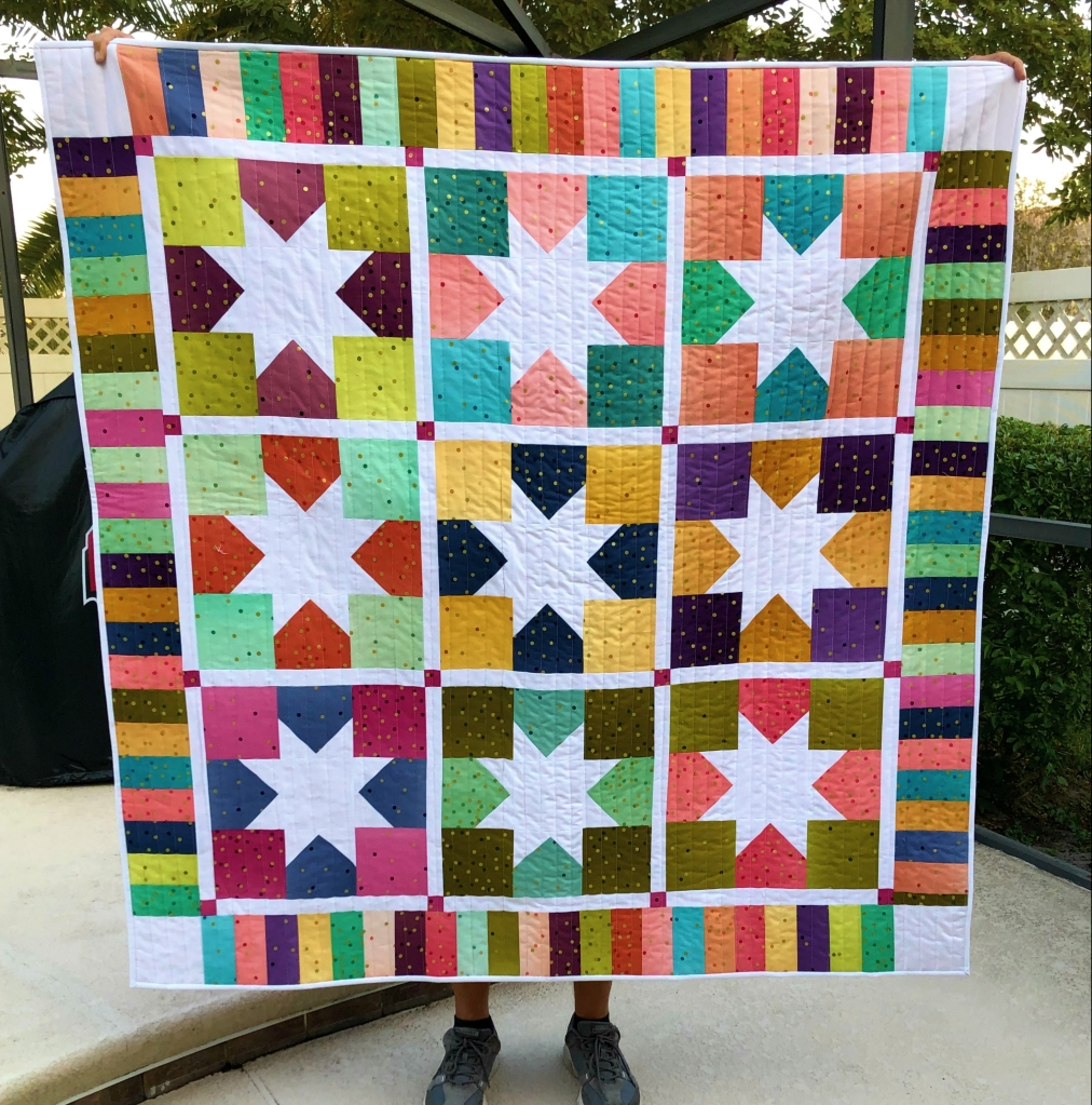 Ombre Mettalic Baby Quilt, Charming Stars
