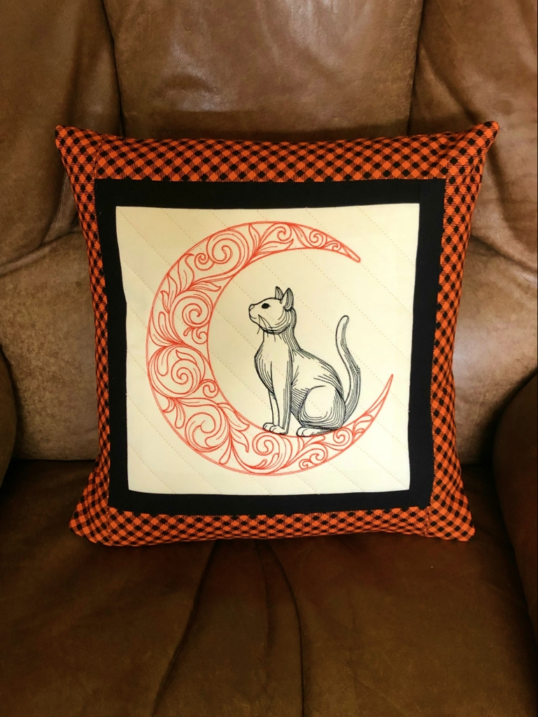 quilted embroidered Halloween pillow