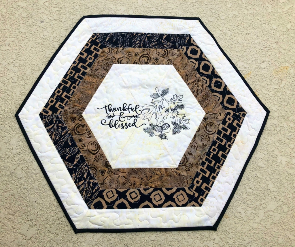hexagon quilted table topper