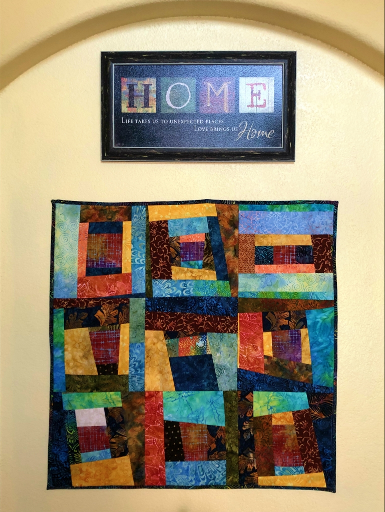 improv piecing quilt as you go wall hanging