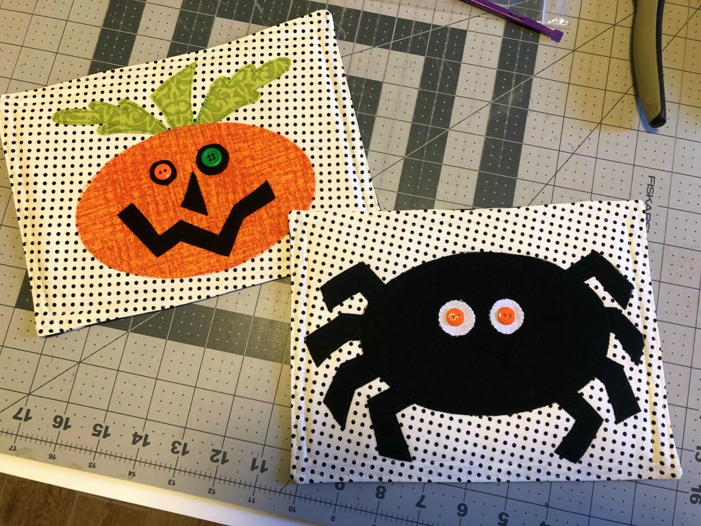 spooky quilted mug rugs