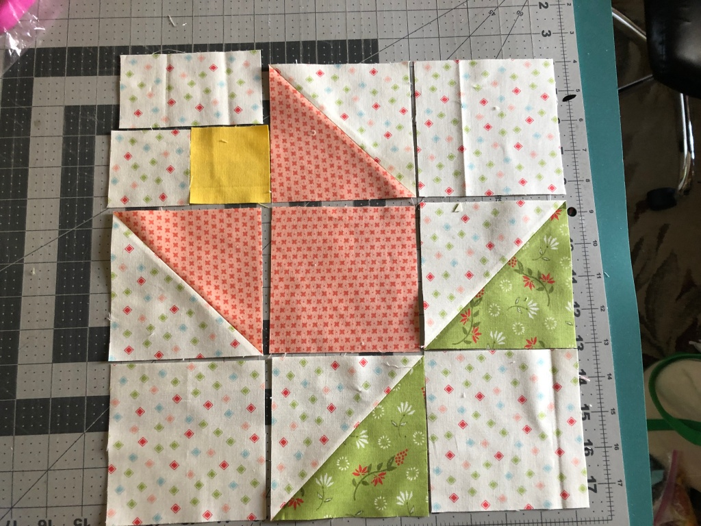 tulip quilt block layout - 9 patch