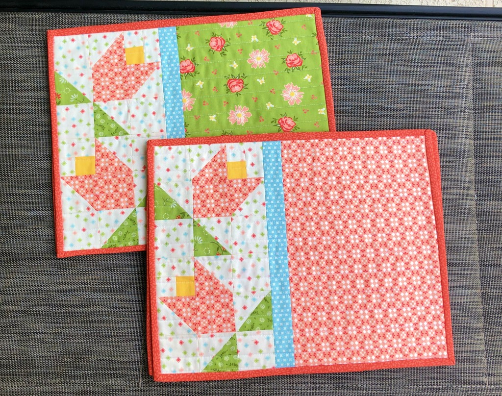 tulip quilted patchwork placemats,spring decor