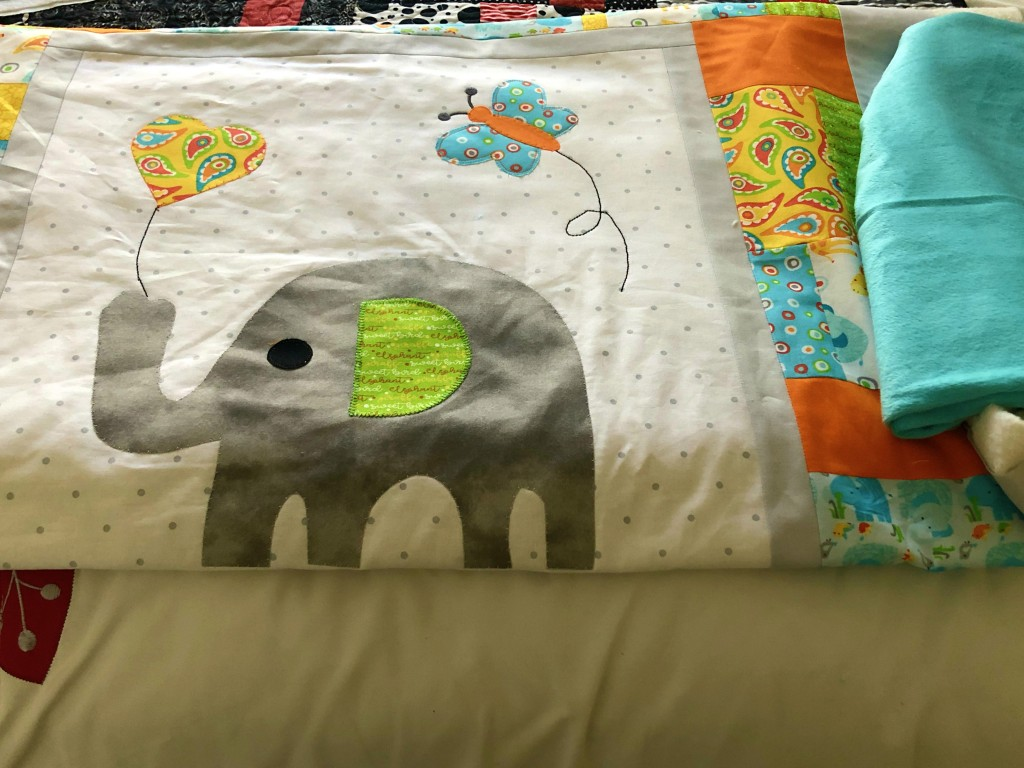 elephant baby quilt applique