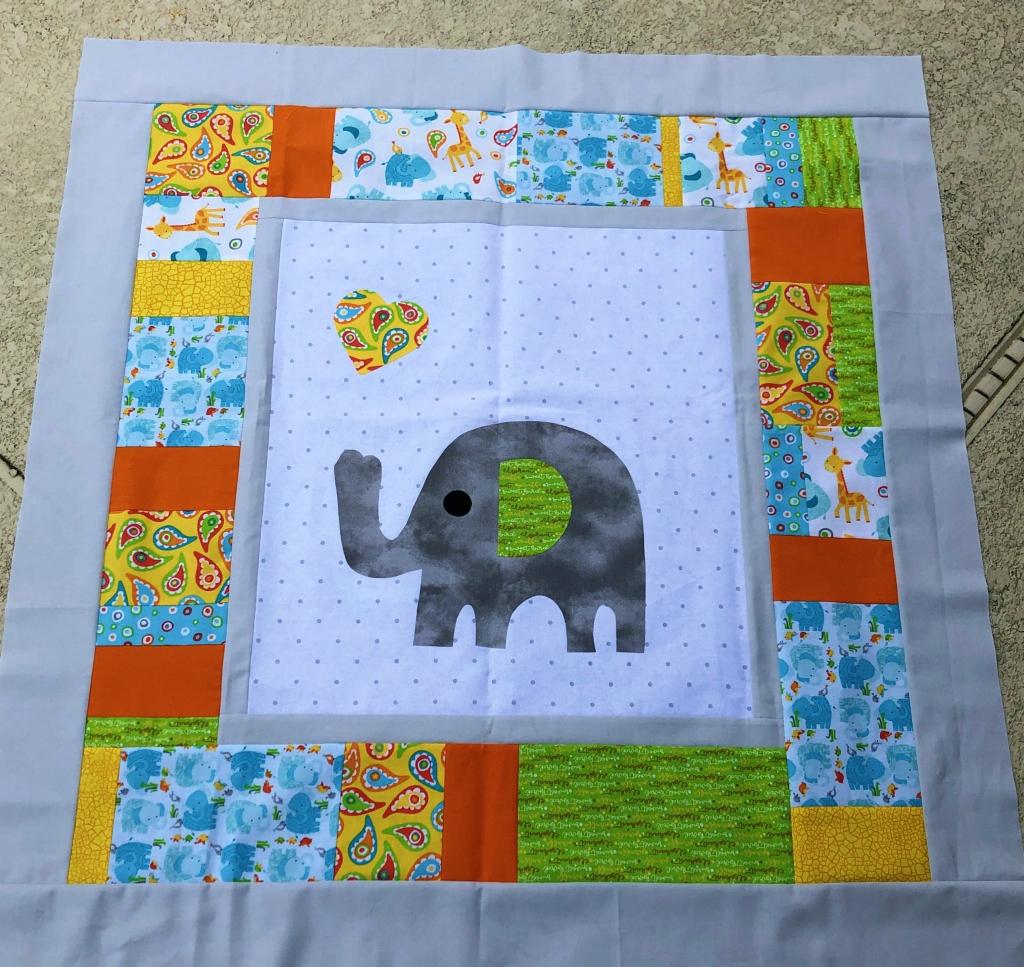 elephant baby quilt wip