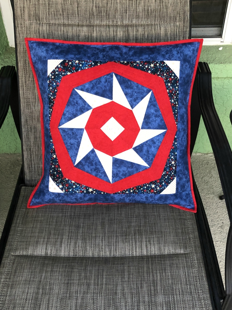patriotic spinning star paper pieced pillow