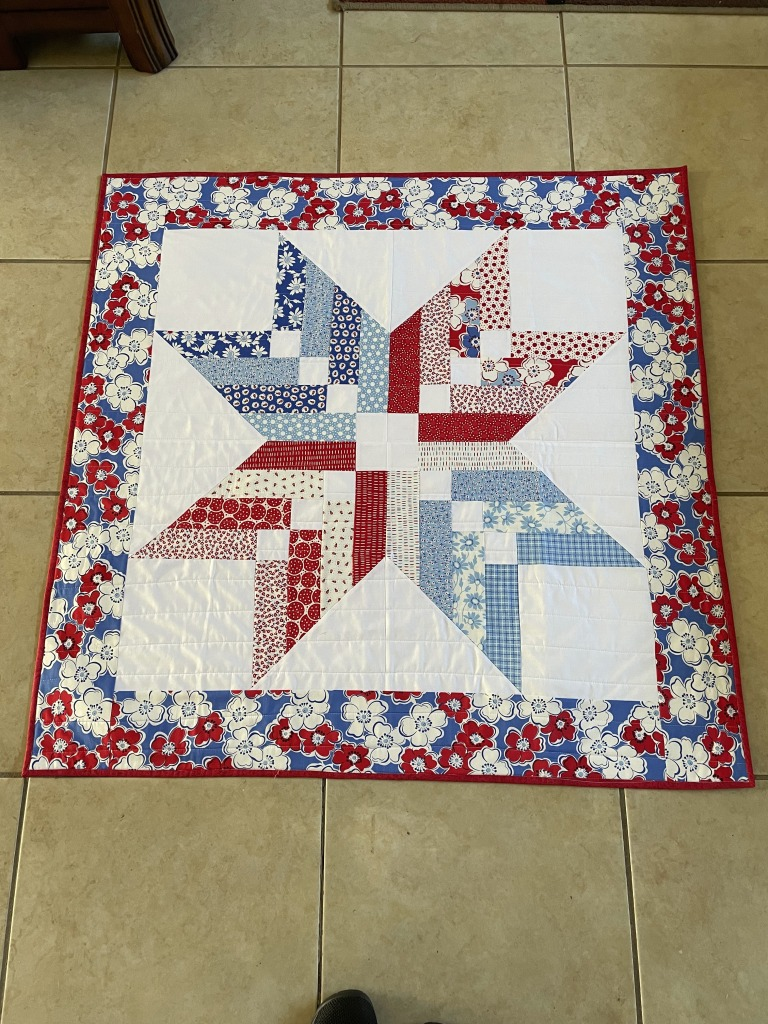 Red, White, Blue Quilted Table Topper, Handmade, Jelly Roll Friendly, Back Porch Moda Fabrics