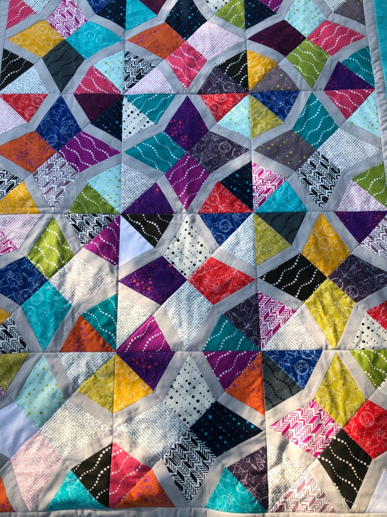Bordered Periwinkle Lap Quilt, Layer Cake Quilt Design