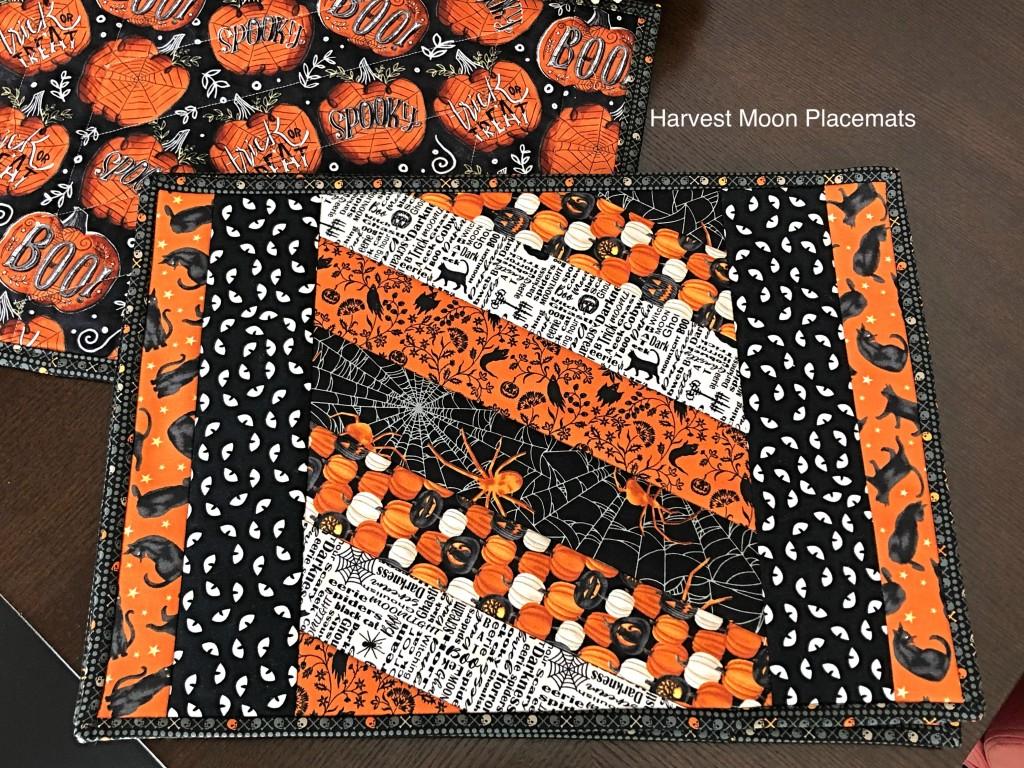 QAYG Handmade Halloween Placemats, Harvest Moon Fabric