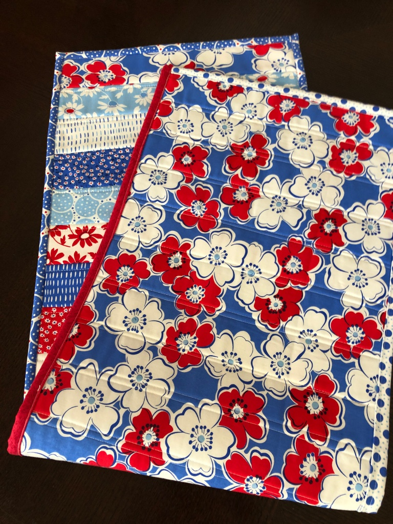 Quilt As You Go Handmade Table Runner, Red White Blue, Back Porch Fabric for Moda