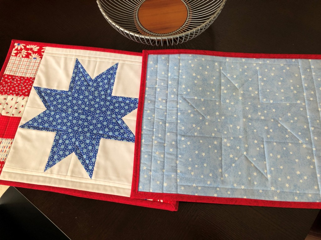 Handmade quilted placemats, red white blue, patriotic home decor, stars and stripes