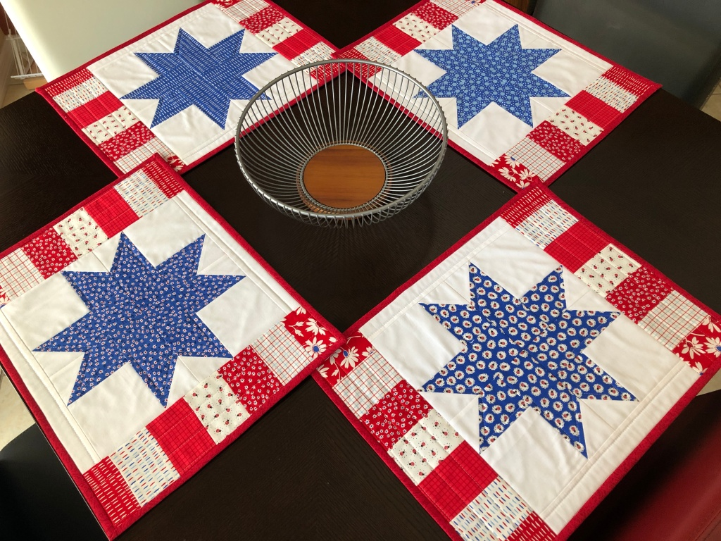 Red White Blue handmade quilted placemats
