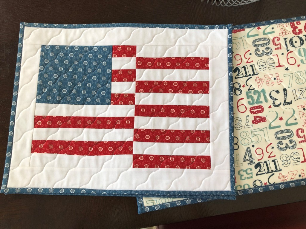 Handmade Quilted Placemats, Wave Your Flag, Patriotic Home Decor