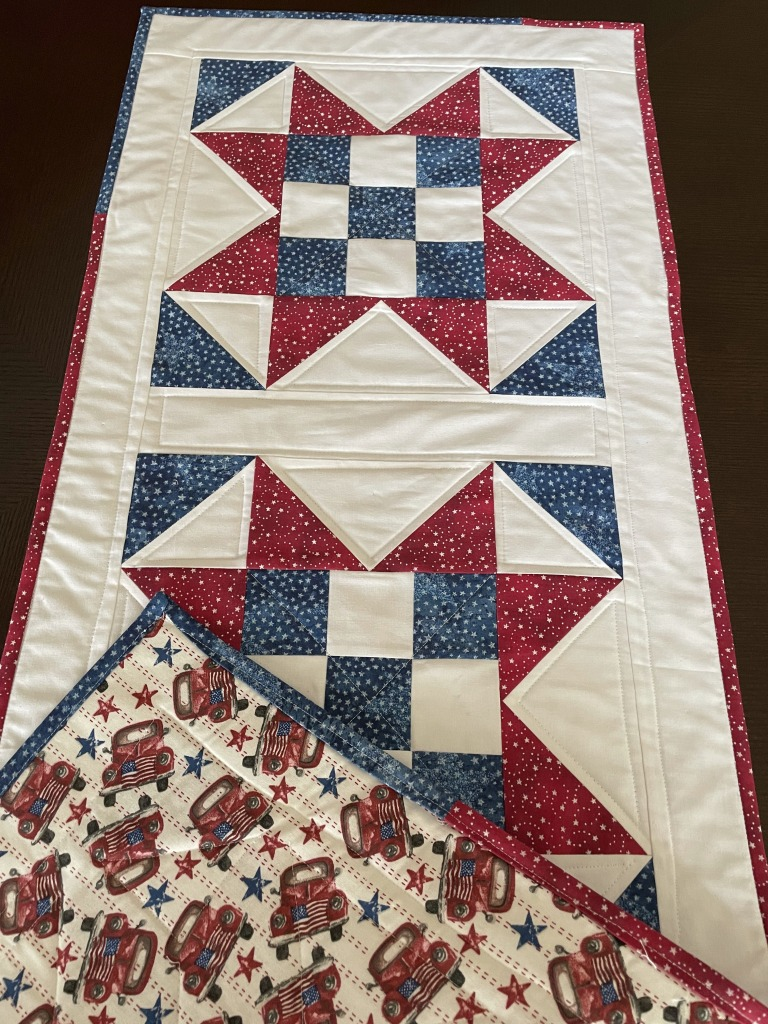 Patriotic Nine Patch Quilted Star, Red White, Blue, 4th of July home decor, handmade