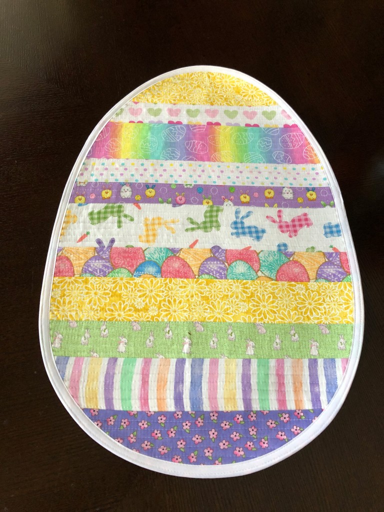Handmade Easter Table Centerpiece, quilted, Quilt As You Go Table Runner