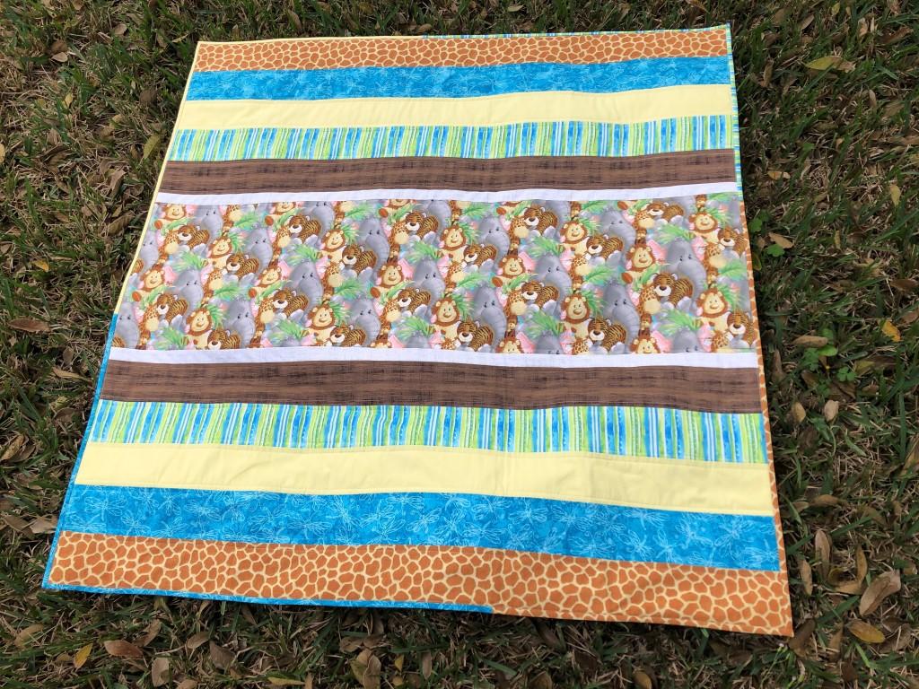 Handmade baby quilt, Nursery Decor, Jungle Animals, Gender Neutral Baby Gift
